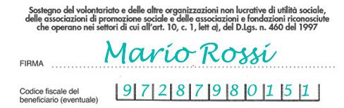 Facsimile del box sulla dichiarazione dei redditi per effettuare una donazione del 5x1000